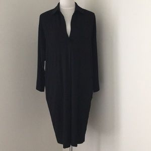 Vince Easy Pullover Black Shift Shirt Dress
